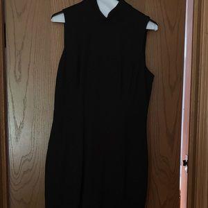 WHBM  mock sleeveless black form fitting dress